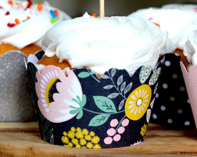 Modern Floral Paper Cupcake Wrappers - pastel blush and yellow flowers on a black background