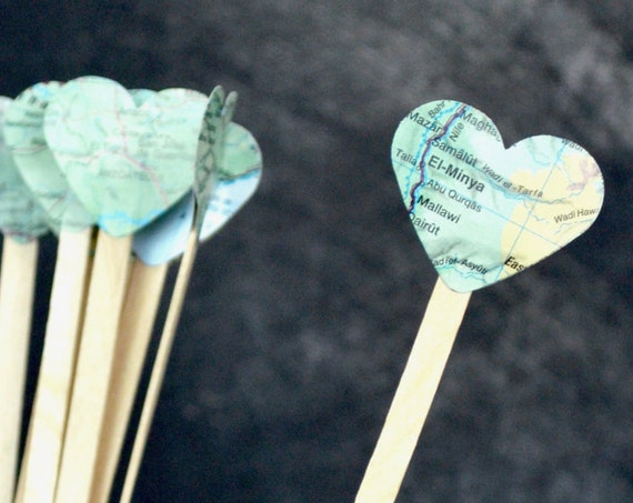 Vintage Map Heart Drink Stirrers - Swizzle sticks for hot or cold drinks