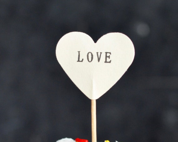 12 LOVE Heart Cupcake Picks, hand stamped - the ORIGINAL handstamped hearts in vintage, white, pink or red
