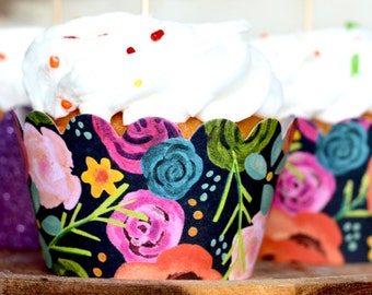 12 - Painterly Floral Cupcake Wrappers. Modern blooming garden party decor with black background.