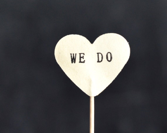 WE DO cupcake toppers, 12 hand stamped picks - the ORIGINAL handstamped hearts in vintage, kraft, mint, red, pink or white