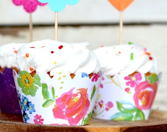 Watercolor Floral Paper Cupcake Wrappers, sets of 12