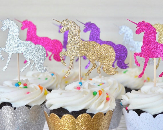 Glitter Unicorn Cupcake Toppers - Choose from Gold | Silver | Hot Pink | Light Pink | Purple | White | Red | and many other colors!