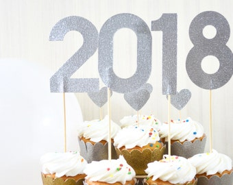 Glitter Graduation and New Year's Dessert Toppers - Choose from 2018, 2019 Or A Custom Year! Gold, Silver, Red, White, & More!