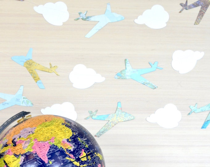 Large Clouds and Vintage Map Airplanes Garland, classic party decor