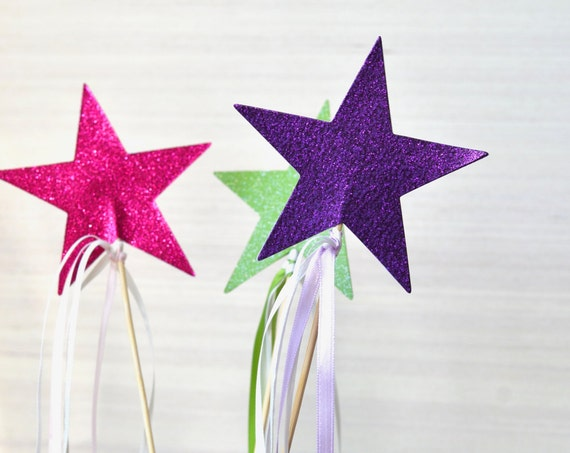 Extra Large Sparkly Star Ribbon Wands - custom colors available