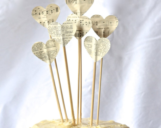 Vintage Book or Music Pie Topper, heart cake and dessert picks
