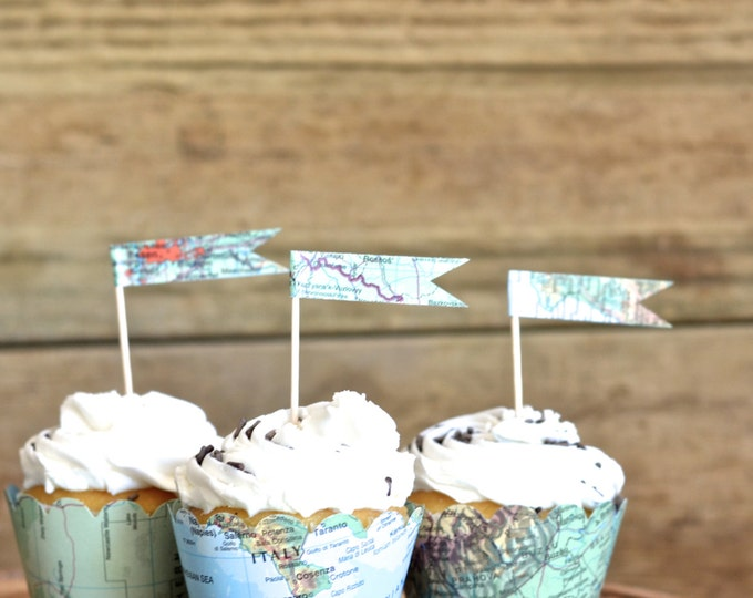 Vintage Map Cupcake Flags