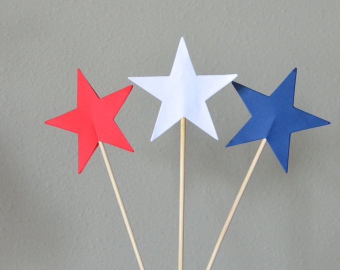 Red, White or Blue Star Dessert Topper, large patriotic cake and pie picks