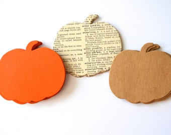 Harvest Pumpkin Shape Cutouts - 30 pieces of vintage book, harvest orange or kraft brown paper. Perfect fall table decorations!