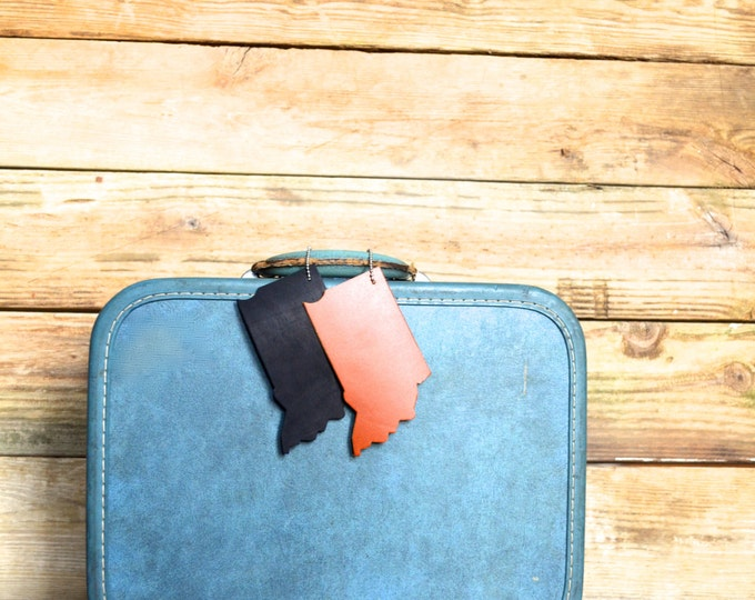 Indiana Silhouette Luggage Tag - choose from black, caramel, or brown