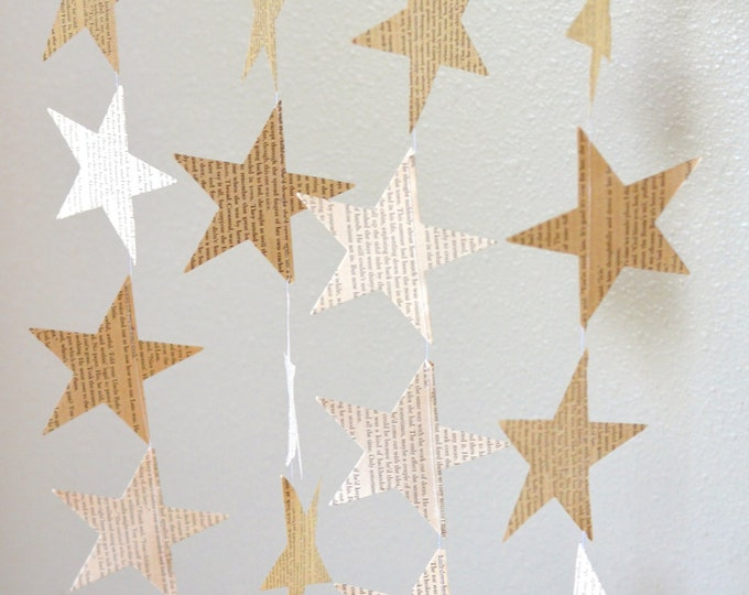 Vintage Book Paper Star Garland. Perfect for wedding, bridal showers, birthdays, baby showers, Christmas, and more!