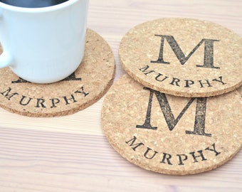 Personalized Cork Coasters - Set of 4 coasters featuring a large monogram and the name or word of your choice! Leather upgrade available.