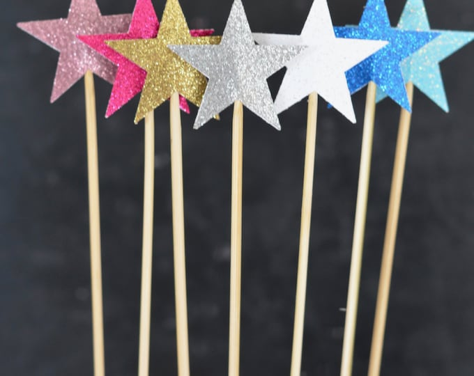 "2"" Sparkly Glitter Star Cake Pop Wands and Dessert Toppers - star dessert toppers in wide range of glitter colors"