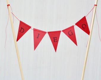 Mini Personalized Bunting Garland Cake Topper, custom birthday banner or dessert topper - you choose the colors!