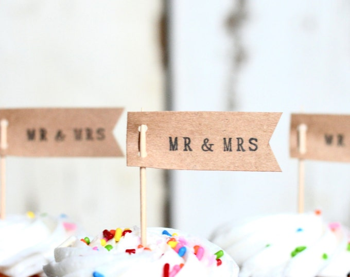 Mr. & Mrs. or Miss To Mrs. Flag Style cupcake picks: sets of 12, 24, 30, 50, 75 or 100 hand stamped picks - the ORIGINAL handstamped toppers