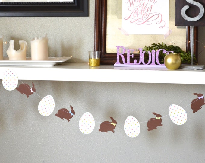 Chocolate Easter Bunny Banner, bunnies with bowties and polka dot eggs, custom colors available