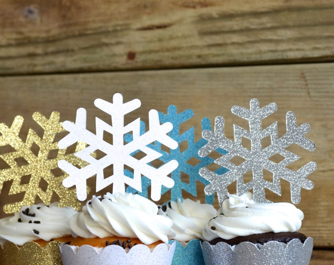 Glitter Snowflake Cupcake Toppers - In your choice of colors. Including gold, silver, white, light blue, pink, purple, or even a mixture!