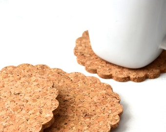 Doily Shaped Cork Coasters - set of 4 scalloped coasters