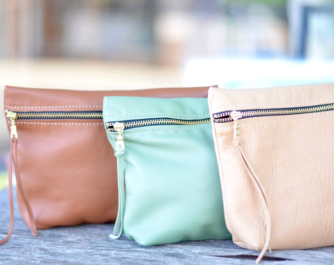 Italian Leather Clutch Bag - Perfect for makeup, pencils, diapers & wipes, and more! Choose from Tuscan Brown, Camel Brown, or Sage Green.