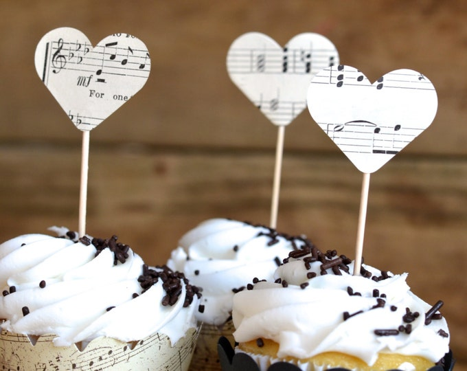 Vintage Music Heart Cupcake Picks, made from vintage music pages