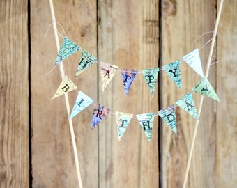 Hand Stamped Vintage Map Cake Topper - mini pennant cake garland. Choose from Happy Birthday, Adventure Awaits, or Bon Voyage.