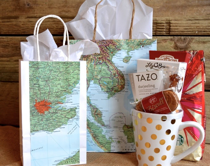 Large Vintage Map Gift Bag with Handles