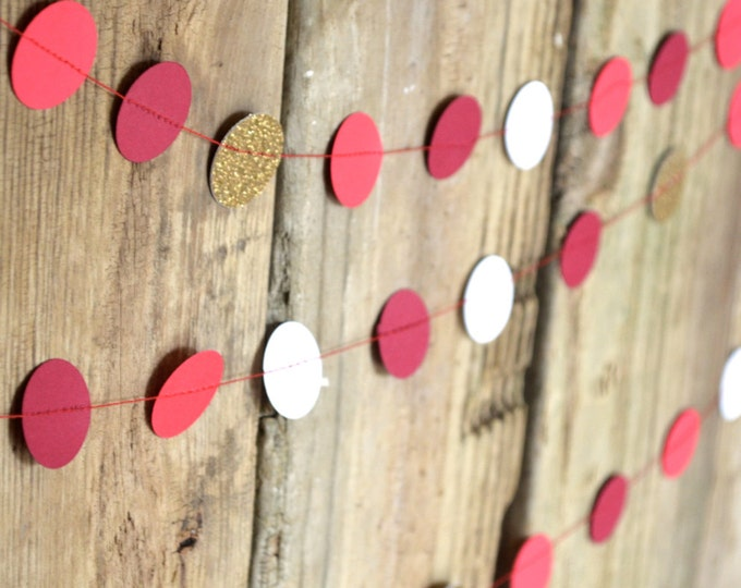 Holiday Circles Garland - burgundy, red, white and glitter gold bunting