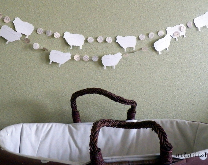 10 foot long Sheep and Vintage Book Circles Banner - Custom colors available