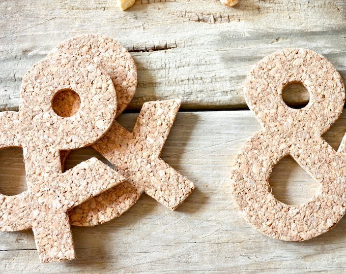 """Handmade Ampersand """"&"""" Cork Coaster - Sets of 4, 8, 12, 15, 20, etc. Perfect for wedding, Christmas, or housewarming gifts!"""