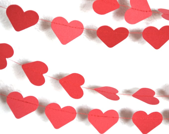 Red Paper Hearts Garland - horizontal or vertical hearts, 10' or 15' long