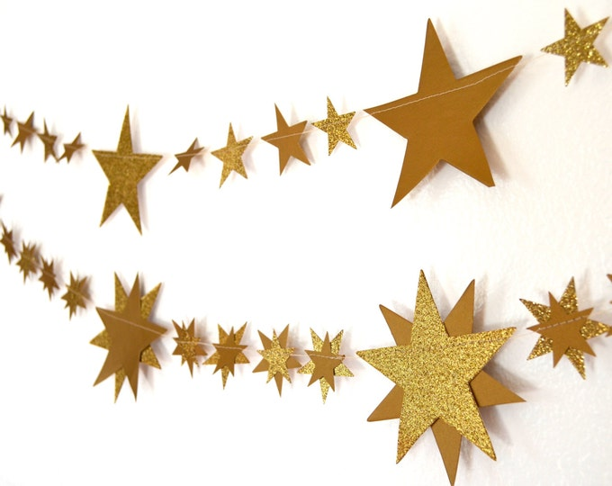 Glitter Gold Stars and Starburst Banner - 5 or 10 feet long