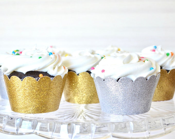 Glitter Cupcake Wrappers - Sets of 12, 24, 30, 36, 50, 75 or 100! Choose from: Gold, Silver, Copper, Hot Pink, Light Pink & many more
