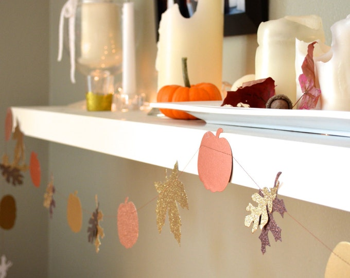 Glitter Autumn Leaves and Pumpkins Banner - festive gold, copper and bronze fall garland. 10ft Long