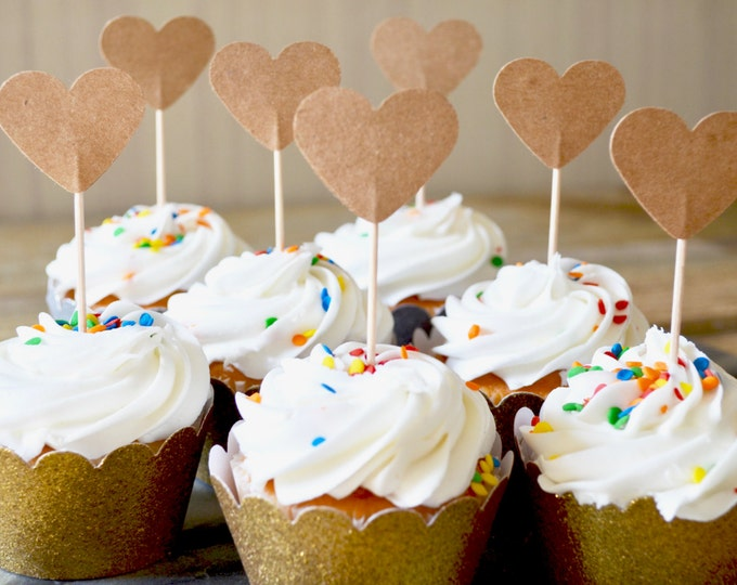 Kraft Heart Cupcake Toppers, choose from sets of 12, 24, 30, 36, 50 or 100 toppers!