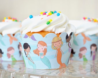 Mermaid Cupcake Wrappers - Sets of 12. Featuring a colorful assortment of mermaids, perfect for birthdays, baby showers & more.