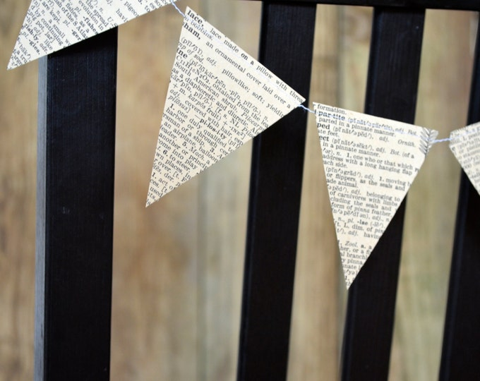 Vintage Book Paper Bunting Chair Garland - vintage book banner