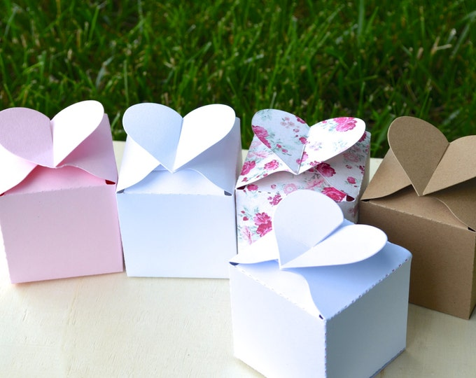 """Set of 10 Heart Topped Favor Boxes - LIGHT PINK ONLY. Clearance Item. 2"""" square. Large enough for a few truffles, candy, or a small gift."""