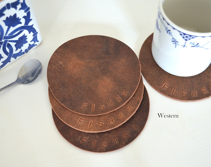 """4 Leather Circle Coasters. 4.5"""" Wide. Choose from Caramel Brown, Chocolate, Black, Western, Camel & other colors! Personalization Available."""