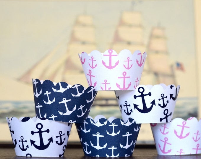 Anchor Cupcake Wrappers - choose from navy, pink or white! Perfect for nautical or travel themed events.