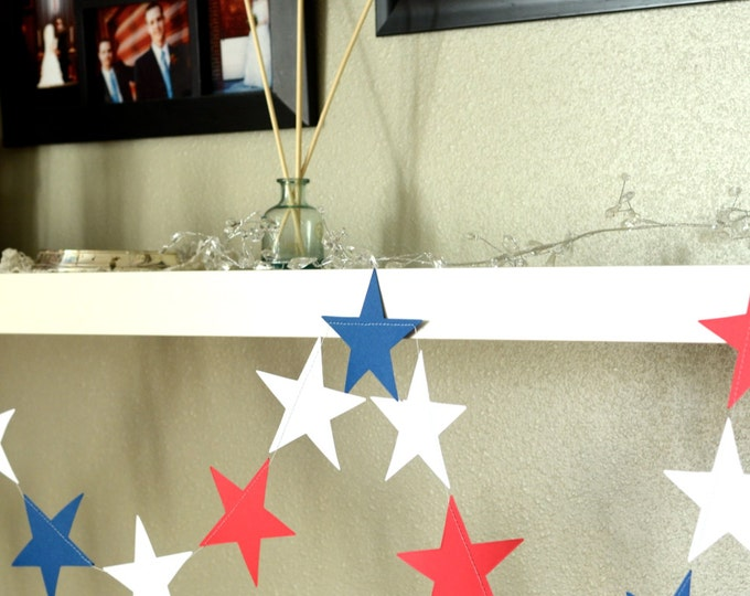 Red, White and Blue Large Stars Garland - reusable Americana patriotic banner
