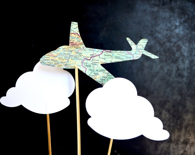 Vintage Map Airplane and Cloud Shaped Cake Toppers