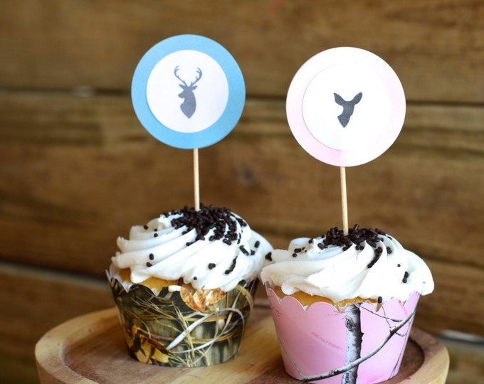 Is It A Buck or Doe? Gender Reveal Cupcake Picks