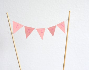 Mini Personalized Bunting Garland Cake Topper, custom name birthday bunting dessert topper - you choose the colors!
