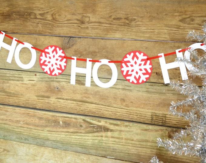 Ho, Ho, Ho Christmas Banner - red and white Scandinavian style