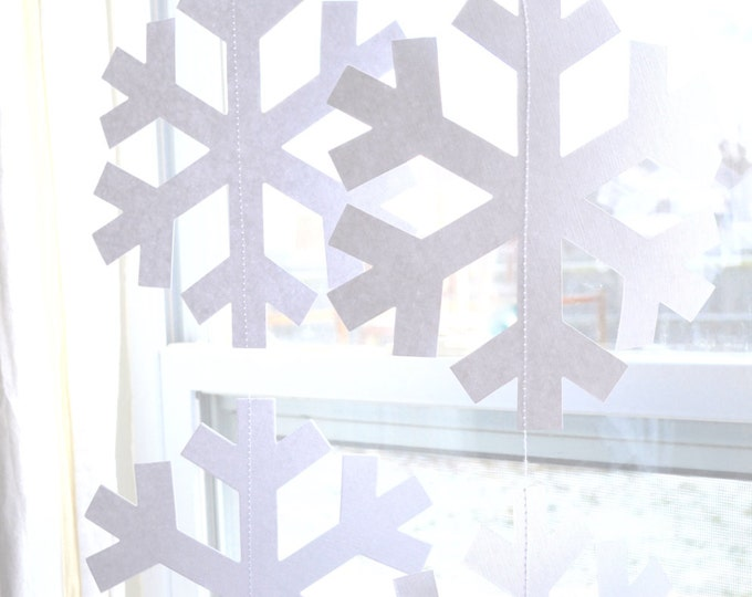 "Snowflake Garland - extra large ""Frozen"" and ""Nordic"" snowflake banners in white or glitter white"