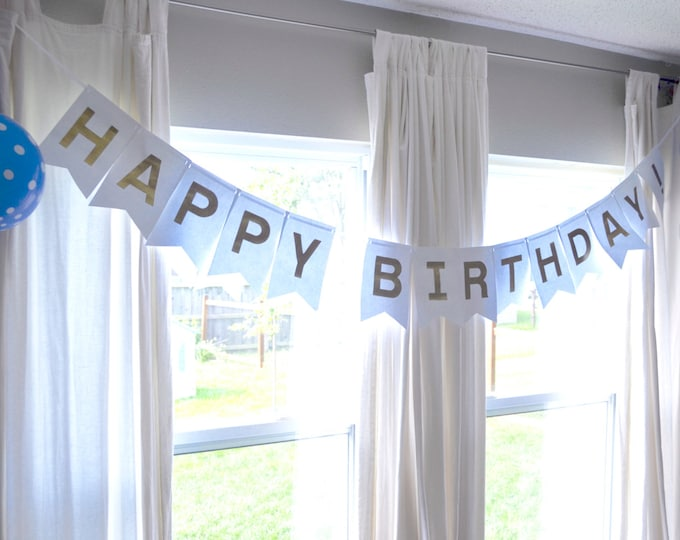 Deluxe Happy Birthday Banner and Photo Prop. Choose from a rainbow of glitter colors, including gold, silver, pink, red, yellow, and more!