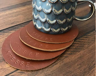 "4 Leather Circle Coasters. 4.5"" Wide. Choose from Caramel Brown, Chocolate, Black, Western, Camel & other colors! Personalization Available."