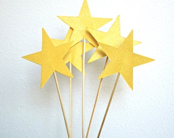 """4"""" Wide Sparkly Star Wands - Large stars wands in your choice of custom colors! Perfect for cakes, centerpieces, graduation, fair wands, etc"""
