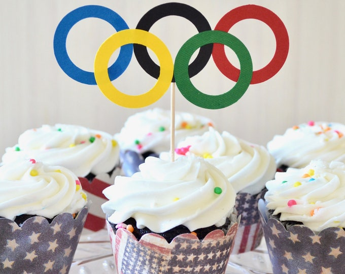 Olympic Rings Cupcake or Cake Toppers - Perfect for school events, Special Olympics, Birthdays, and the Olympic Games!